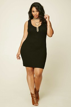 zwarte plus size bodycon dress van forever 21+