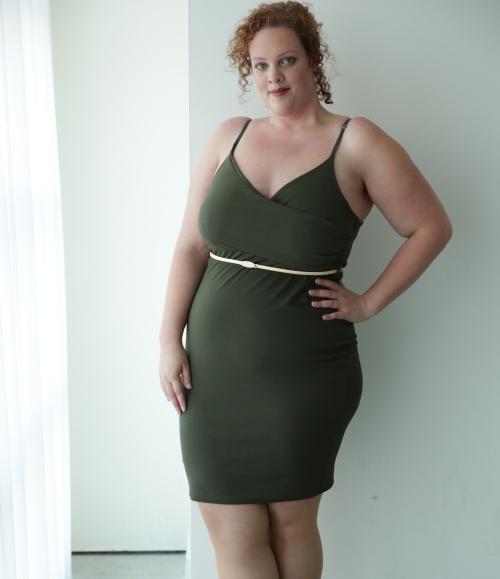 kaki plus size bodycon dress van New Look Curve