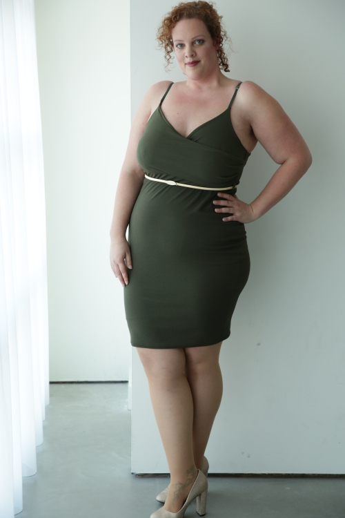kaki plus size bodycon dress and wide fit gold glitter shoes from New Look Fashion
