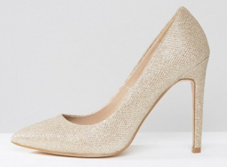 Wide fit gold pumps via Asos