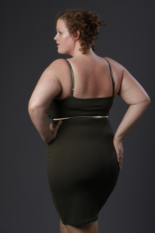 Kaki plus size body con dress van New Look Curve