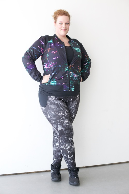 plus size 3-D fitness leggins and jacket from Anna Scholz