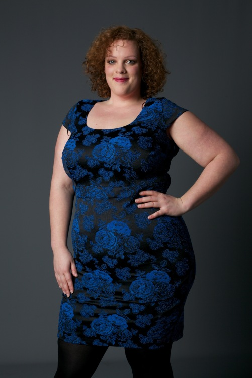 plus size blauwe jacquard floral print dress van studio 8