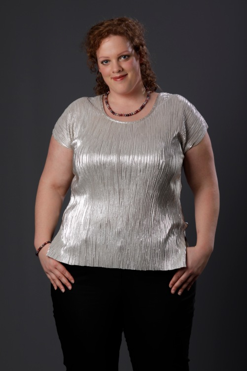 close up plus size zilveren top van Ms mode